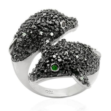 LOS195 - Rhodium + Ruthenium 925 Sterling Silver Ring with Synthetic Synthetic Glass in Emerald