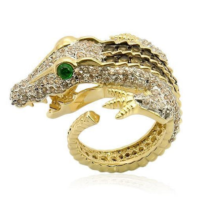 LOS225 - Rhodium+Gold+ Ruthenium 925 Sterling Silver Ring with Synthetic Synthetic Glass in Emerald