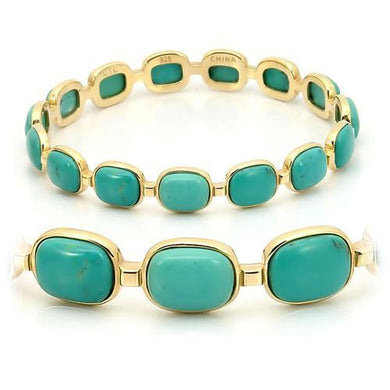 LOS242 - Matte Gold 925 Sterling Silver Bangle with Semi-Precious Turquoise in Emerald