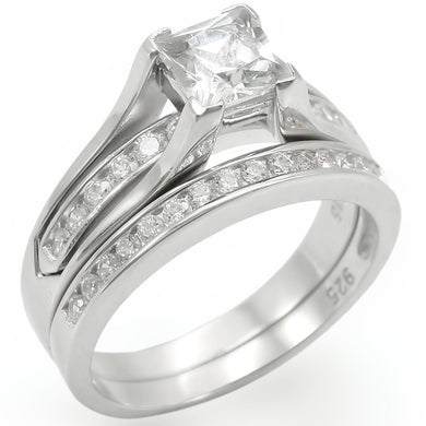 LOS256 - Rhodium 925 Sterling Silver Ring with AAA Grade CZ  in Clear