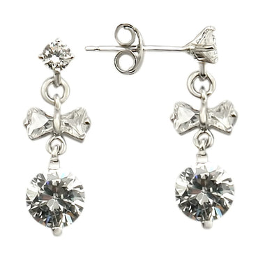 LOS313 - Rhodium 925 Sterling Silver Earrings with AAA Grade CZ  in Clear