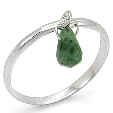 LOS322 - Silver 925 Sterling Silver Ring with Genuine Stone  in Emerald