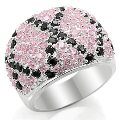 LOS357 - Silver 925 Sterling Silver Ring with AAA Grade CZ  in Multi Color