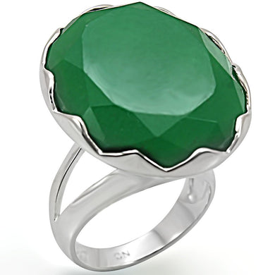 LOS387 - Silver 925 Sterling Silver Ring with Synthetic Jade in Emerald