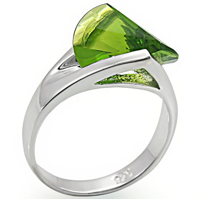 LOS395 - Rhodium 925 Sterling Silver Ring with Synthetic Spinel in Peridot