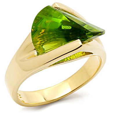 LOS398 - Gold 925 Sterling Silver Ring with Synthetic Spinel in Peridot