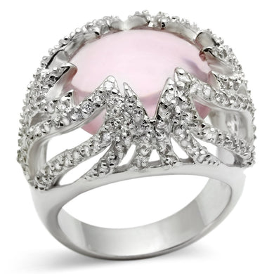 LOS536 - Silver 925 Sterling Silver Ring with Synthetic Synthetic Glass in Light Rose