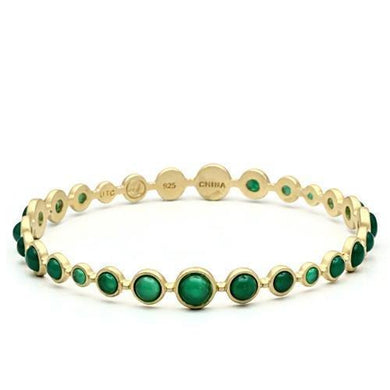 LOS550 - Matte Gold 925 Sterling Silver Bangle with Semi-Precious Onyx in Emerald