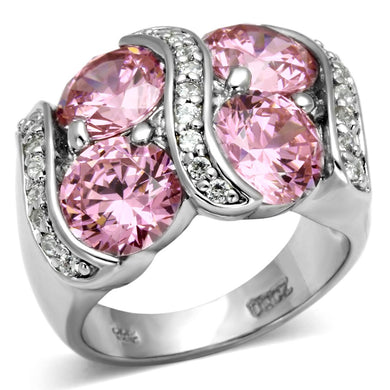 LOS570 - Rhodium 925 Sterling Silver Ring with AAA Grade CZ  in Rose