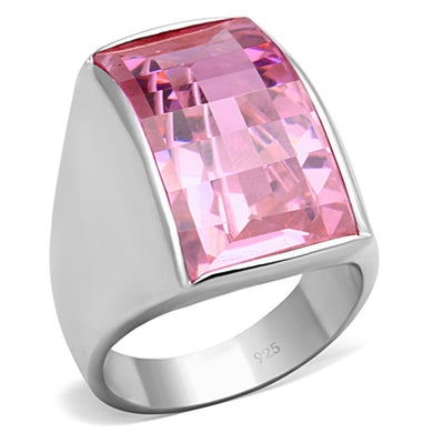 LOS695 - Silver 925 Sterling Silver Ring with AAA Grade CZ  in Rose
