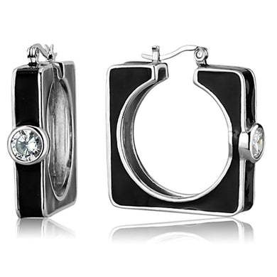 LOS754 - Rhodium 925 Sterling Silver Earrings with AAA Grade CZ  in Clear