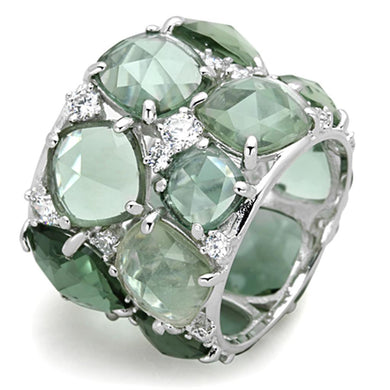 LOS764 - Rhodium 925 Sterling Silver Ring with Synthetic Synthetic Glass in Emerald