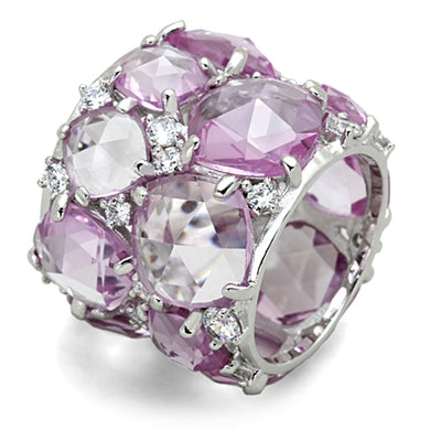LOS768 - Rhodium 925 Sterling Silver Ring with Synthetic Corundum in Light Rose