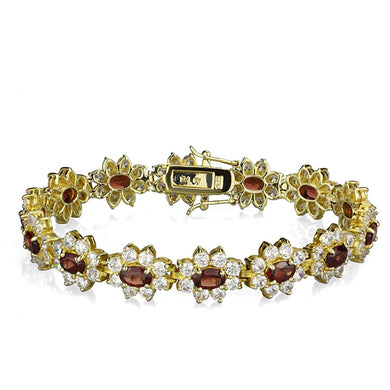 LOS842 - Gold 925 Sterling Silver Bracelet with AAA Grade CZ  in Garnet