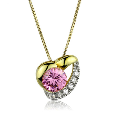LOS868 - Gold+Rhodium 925 Sterling Silver Necklace with AAA Grade CZ  in Rose