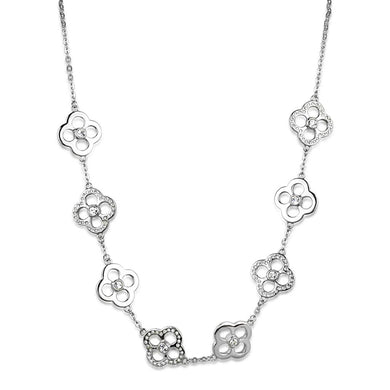 LOS874 Rhodium 925 Sterling Silver Necklace with Top Grade Crystal in Clear