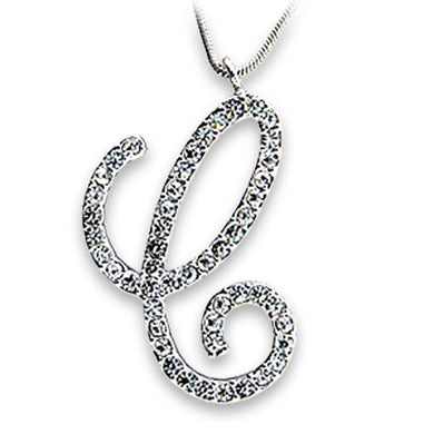 OT116 - Rhodium Brass Pendant with Top Grade Crystal  in Clear