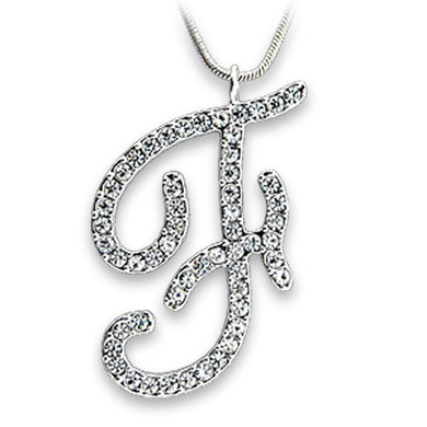OT119 - Rhodium Brass Pendant with Top Grade Crystal  in Clear