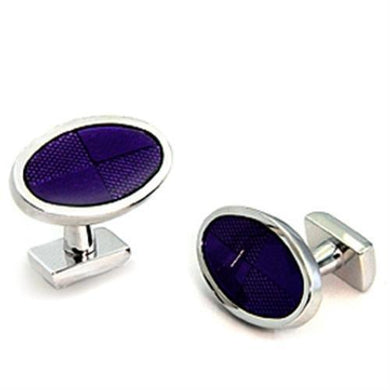 LO1190 - Rhodium Brass Cufflink with Epoxy  in Amethyst