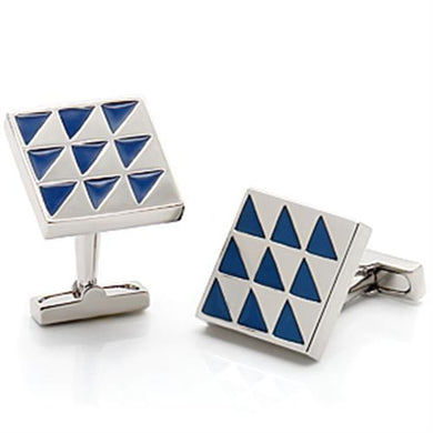 LO1191 - Rhodium Brass Cufflink with Epoxy  in Montana