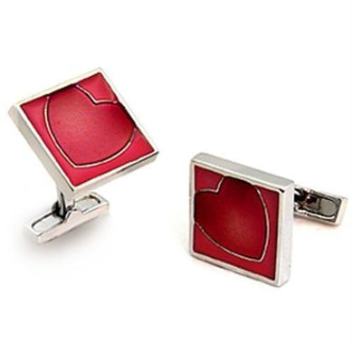 LO1192 - Rhodium Brass Cufflink with Epoxy  in Garnet