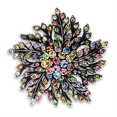 OT627 - Antique Silver White Metal Brooches with Top Grade Crystal  in Multi Color
