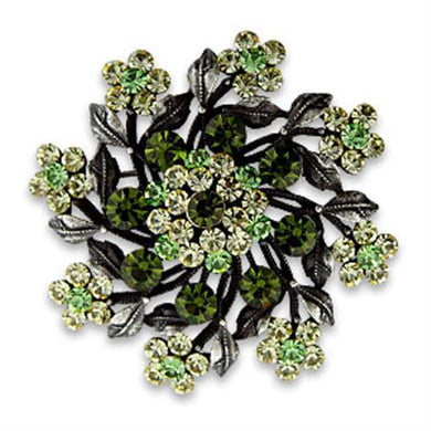 OT635 - Antique Silver White Metal Brooches with Top Grade Crystal  in Multi Color