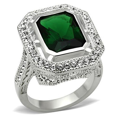 SS002 - Silver 925 Sterling Silver Ring with Synthetic Synthetic Glass in Emerald