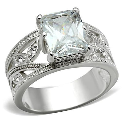 SS024 - Silver 925 Sterling Silver Ring with AAA Grade CZ  in Clear