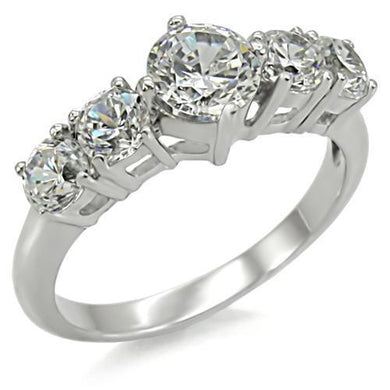 TK003 - High polished (no plating) Stainless Steel Ring with AAA Grade CZ  in Clear