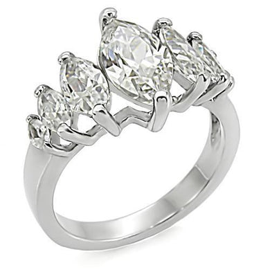 TK006 - High polished (no plating) Stainless Steel Ring with AAA Grade CZ  in Clear