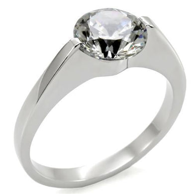 TK012 - High polished (no plating) Stainless Steel Ring with AAA Grade CZ  in Clear