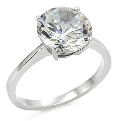 TK013 - High polished (no plating) Stainless Steel Ring with AAA Grade CZ  in Clear