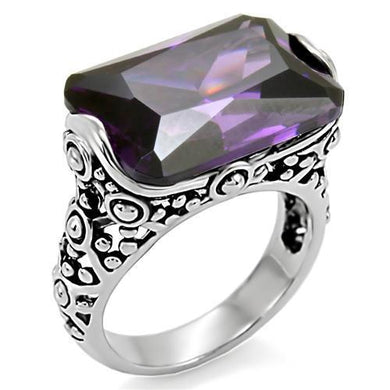 TK015 - High polished (no plating) Stainless Steel Ring with AAA Grade CZ  in Amethyst