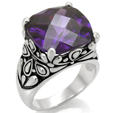 TK016 - High polished (no plating) Stainless Steel Ring with AAA Grade CZ  in Amethyst
