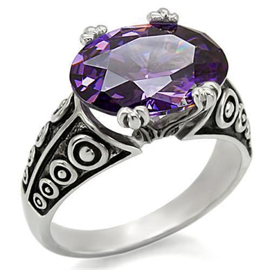 TK017 - High polished (no plating) Stainless Steel Ring with AAA Grade CZ  in Amethyst