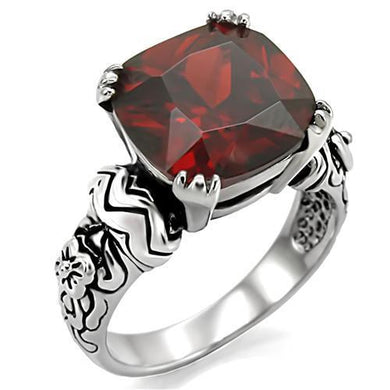 TK018 - High polished (no plating) Stainless Steel Ring with AAA Grade CZ  in Garnet