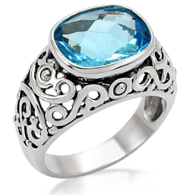 TK020 - High polished (no plating) Stainless Steel Ring with Synthetic Synthetic Glass in Sea Blue