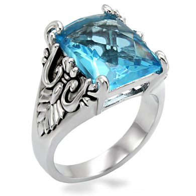 TK021 - High polished (no plating) Stainless Steel Ring with Synthetic Synthetic Glass in Sea Blue