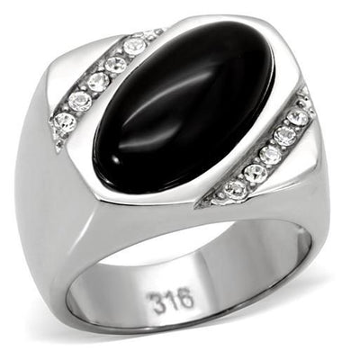 TK02214 - High polished (no plating) Stainless Steel Ring with Semi-Precious Agate in Jet