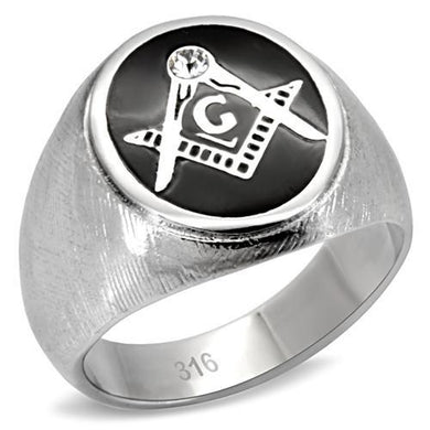 TK02222 - High polished (no plating) Stainless Steel Ring with Top Grade Crystal  in Clear