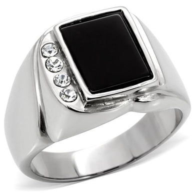 TK02225 - High polished (no plating) Stainless Steel Ring with Semi-Precious Agate in Jet