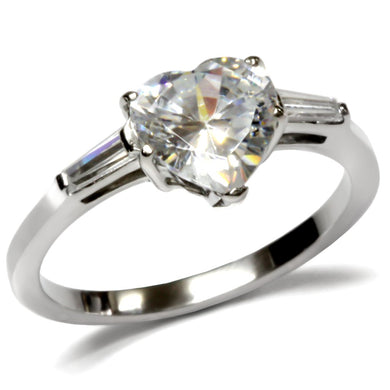 TK027 - High polished (no plating) Stainless Steel Ring with AAA Grade CZ  in Clear