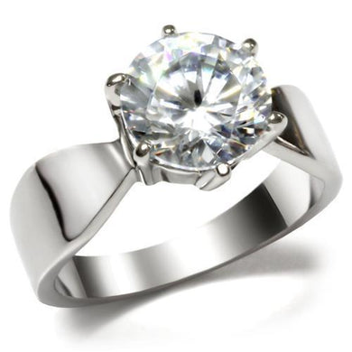 TK046 - High polished (no plating) Stainless Steel Ring with AAA Grade CZ  in Clear