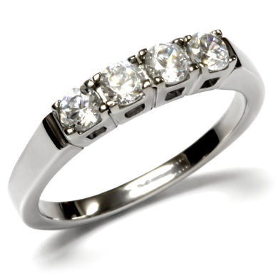 TK047 - High polished (no plating) Stainless Steel Ring with AAA Grade CZ  in Clear