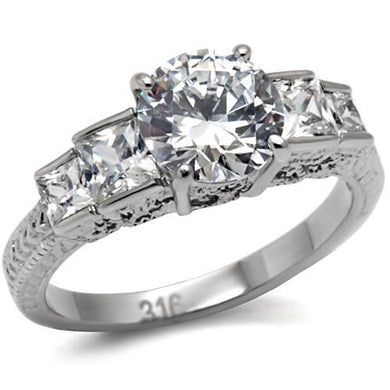 TK057 - High polished (no plating) Stainless Steel Ring with AAA Grade CZ  in Clear