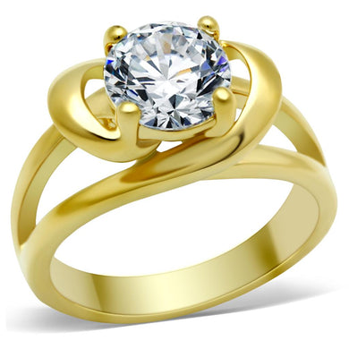 TK066G - IP Gold(Ion Plating) Stainless Steel Ring with AAA Grade CZ  in Clear