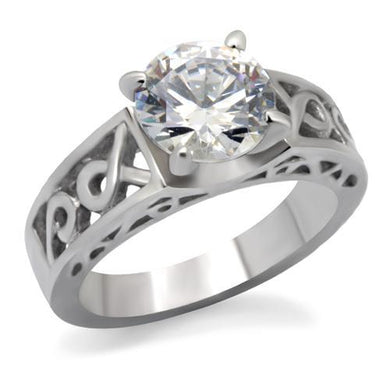 TK069 - High polished (no plating) Stainless Steel Ring with AAA Grade CZ  in Clear