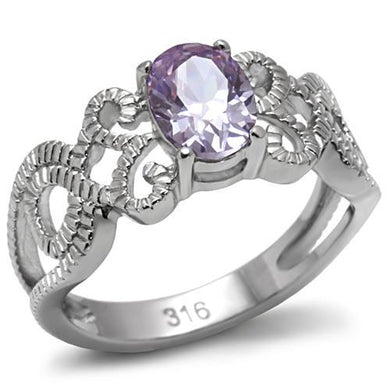 TK079 - High polished (no plating) Stainless Steel Ring with AAA Grade CZ  in Light Amethyst