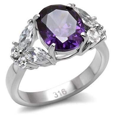 TK086 - High polished (no plating) Stainless Steel Ring with AAA Grade CZ  in Amethyst
